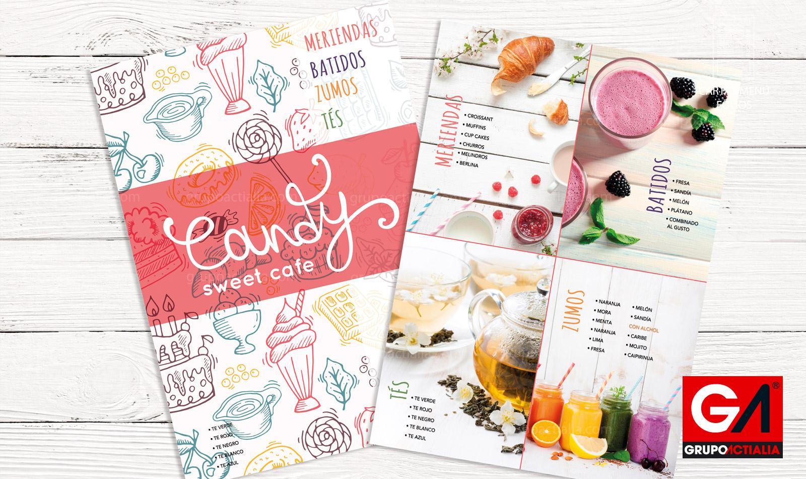 Desde 115 cartas de men folio especialidades for Disenos de menus para cafeterias